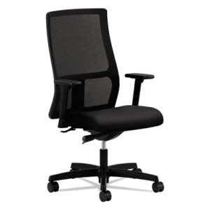 Hon Ignition Series Mesh Mid-Back Chair, Black Upholstered Seat (HONIW103NT10)