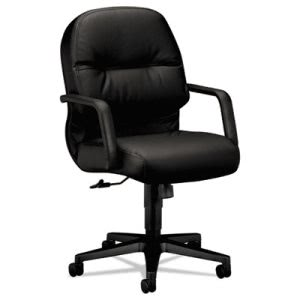 Hon Leather 2090 Pillow-Soft Series Managerial Mid-Back Swivel/Tilt Chair, Black (HON2092SR11T)