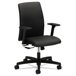 Hon Ignition Series Low-Back Task Chair, Black Fabric Upholstery (HONIT105NT10)