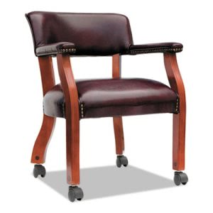 Alera Traditional Series Guest Arm Chair w/Casters, Mahogany Finish/Oxblood Vinyl (ALETDC4336)