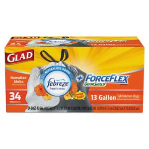 Glad 13 Gallon White Garbage Bags, 24x24, 0.82 mil, 204 Bags (CLO78604CT)