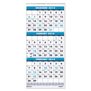 House of Doolittle Three-Month Format Wall Calendar, 8 x 17, 2015-2017 (HOD3646)