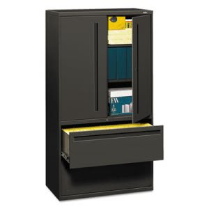 Hon 700 Series File w/Storage Cabinet, 36w x 67h, Charcoal (HON785LSS)