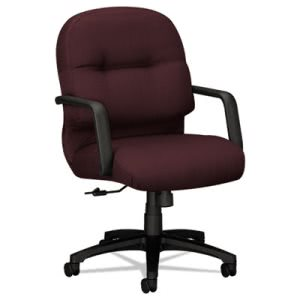 Hon 2090 Pillow-Soft Managerial Mid-Back Swivel/Tilt Chair, Wine Fabric/Black Base (HON2092NT69T)
