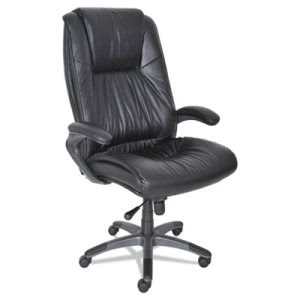 Mayline Ultimo 100 Series High-Back Swivel Chair, Black Leather (MLNULEXBLK)