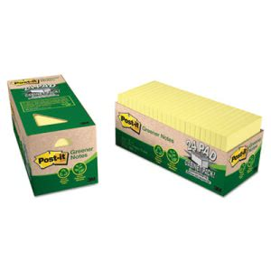 Post-it Recycled Notes, 3 x 3, Canary Yellow, 24 Pads (MMM654R24CPCY)