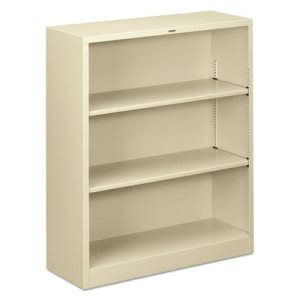 Hon Metal Bookcase, 3 Shelves, 34-1/2w x 12-5/8d x 41h, Putty (HONS42ABCL)