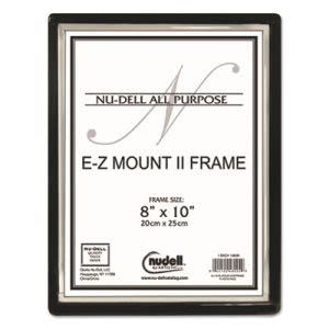 Nudell EZ Mount II Document Frame, Plastic, 8 x 10, Black/Silver (NUD13800)
