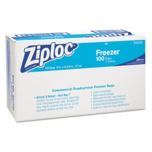 Diversey 94605 Ziploc 2 Gallon Double Zipper Freezer Bags, 100 Bags (DVO94605)