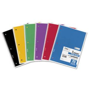 Mead Spiral Bound 1 Subject Notebook, Wide Ruled, 70 Sheets (MEA05510)