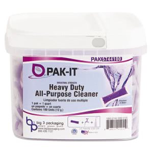 Pak-it Heavy-Duty All-Purpose Cleaner, 100 Paks/Tub, 4 Tubs (BIG5744203400CT)