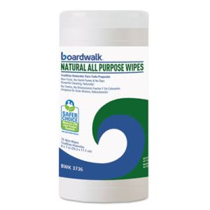 Boardwalk Natural All Purpose Wipes, 7 x 8, Unscented, 75/Canister (BWK3736)