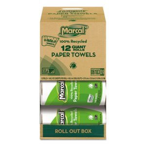 Marcal U-Size-It Kitchen 2-Ply Paper Towel Rolls, 12 Rolls (MAC 6183)