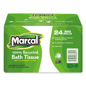 Marcal Standard 2-Ply Toilet Paper Rolls, 168 Sheets/Roll, 24 Rolls (MRC6024)