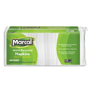 Marcal Small Steps 100% Recycled Luncheon Napkins, White, 2400/CT (MRC6506)