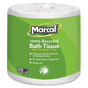 Marcal Standard 2-Ply Toilet Paper Rolls, 100% Recycled, 48 Rolls (MRC6079)