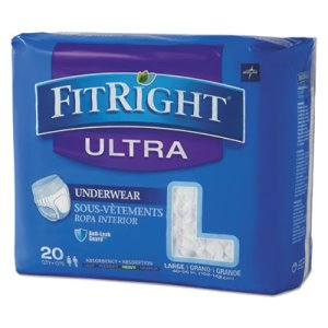 "Medline FitRight Protective Underwear, L, 40-56"" Waist, 20/Pack (MIIFIT23505A)"