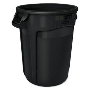 Rubbermaid Brute 32 Gallon Round Vented Trash Cans, Black, 6 Cans (RCP1867531CT)