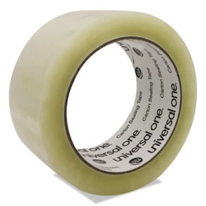 "Universal Heavy-Duty Box Sealing Tape, 2"" x 55 yards, 3"" Core, Clear (UNV91000)"