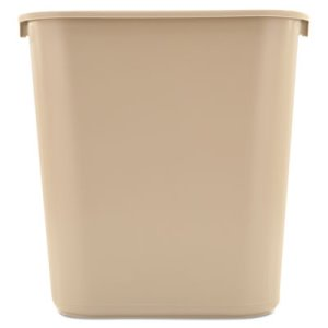 Rubbermaid 7 Gallon Deskside Plastic Trash Can, Beige (RCP 2956 BEI)