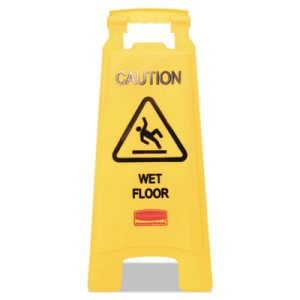 "Rubbermaid 611277 ""Caution Wet Floor"" 2-Sided Floor Sign, Yellow (RCP611277YW)"