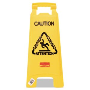 "Rubbemaid 6112 ""Caution"" Multilingual 2-Sided Floor Sign, Yellow (RCP 6112 YEL)"