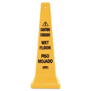 Rubbermaid Four-Sided Wet Floor Yellow Safety Cone, 12 x 12 x 36 (RCP627677)