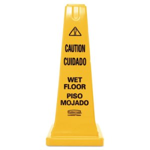 Rubbermaid 4-Sided Wet Floor Safety Cone, Yellow, 1 Each (RCP627777)