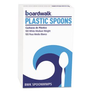 Boardwalk Polystyrene Cutlery, Teaspoon, 100 Teaspoons (BWKSPOONMWPSBX)