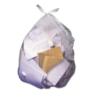 60 Gallon Clear Trash Bags, 38x60, 22mic, 150 Bags (HERZ7660WNR01)