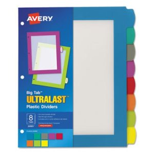 Avery Big Tab Plastic Multicolor Dividers, 8 Tab, Letter, 8 Dividers (AVE24901)