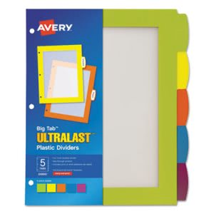 Avery Big Tab Plastic Multicolor Dividers, 5 Tab, Letter, 5/Set (AVE24900)