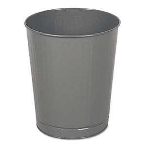 Rubbermaid Fire-Safe 6 1/2 Gallon Round Wastebasket, Steel, Gray (RCPWB26GY)