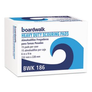 "Boardwalk Heavy-Duty Scour Pads, Green, 6"" x 9"", 15 Pads/Carton (BWK186)"