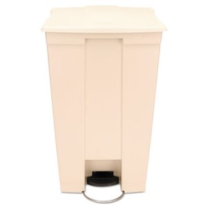 Rubbermaid Step-On Trash Receptacle with Wheels, Beige (RCP614600BG)