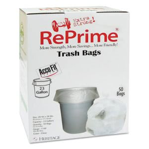 23 Gallon Clear Garbage Bags, 28x45, 0.9 mil, 300 Bags (HERH5645TCRC1CT)