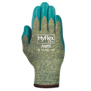 Ansellpro Medium-Duty Gloves, Size 8, Kevlar/Nitrile, Blue/Green (ANS115018)