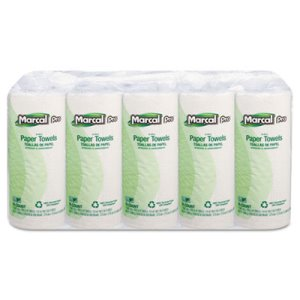 Marcal Kitchen 1-Ply Paper Towel Rolls, White, 15 Rolls (MRC610)