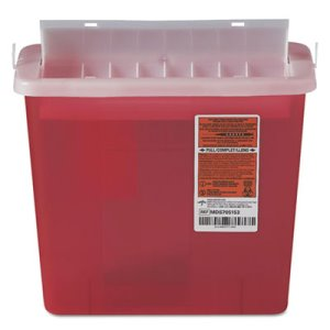 Medline Sharps 5 Qt. Disposal Container for Patient Room, Red (MIIMDS705153H)