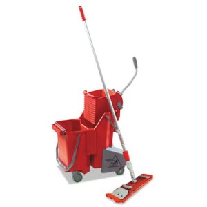 Unger 8 Gallon Side-Press Mop Dual Bucket Floor Pack, Red (UNGSMFPR)