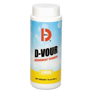 Big D Industries D-Vour Absorbent Powder, Canister, Lemon, 16 oz, 6/Ctn (BGD166)