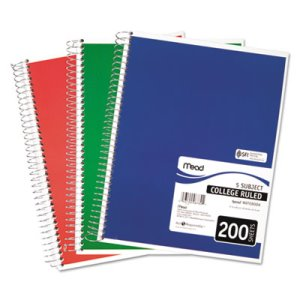 Mead 5 Subject Notebook, College Rule, 8-1/2 x 11, 200 Sheets (MEA06780)