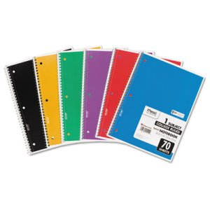 Mead Spiral Notebook, College Rule, 70 Sheets, Assorted, Each (MEA05512)
