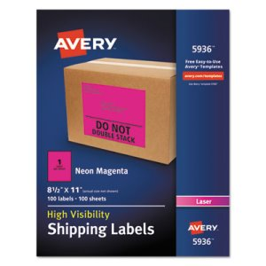Avery Neon Shipping Label, Laser, 8 1/2 x 11, Neon Magenta, 100/Box (AVE5936)