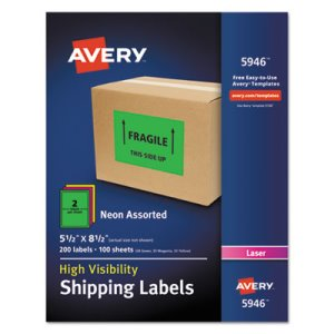 "Avery 5946 High Visibility Shipping Label, 5-1/2"" x 8-1/2"", 200 Labels (AVE5946)"
