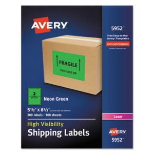 Avery Neon Shipping Label, Laser, 5 1/2 x 8 1/2, Neon Green, 200/Box (AVE5952)