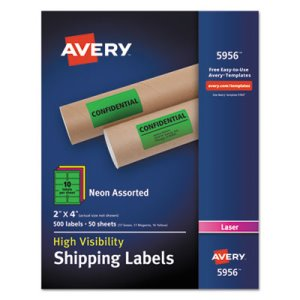 "Avery 5956 High Visibility Neon Shipping Labels, 2"" x 4"", 500 Labels (AVE5956)"