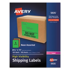"Avery 5935 High Visibility Shipping Labels, 8-1/2"" x 11"", 100 Labels (AVE5935)"