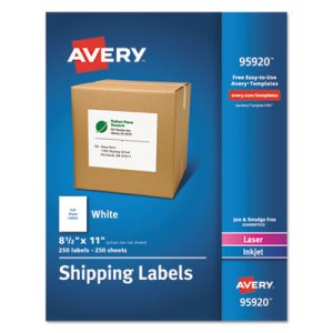 Avery White Shipping Labels, Laser/Inkjet, 8 1/2 x 11, White, 250/Box (AVE95920)