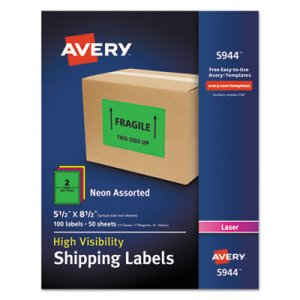 "Avery 5944 High Visibility Shipping Label, 5-1/2"" x 8-1/2"", 100 Labels (AVE5944)"